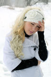 Portrait of a girl with blond hair in winter Stock Image