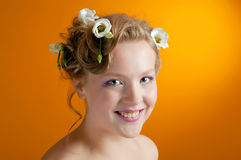 Portrait  girl  blonde with flowers in her hair Royalty Free Stock Photography