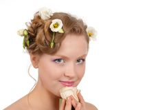 Portrait  girl  blonde with flowers in her hair Royalty Free Stock Images