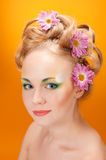 Portrait girl  blonde with flowers in her hair Stock Photo