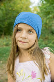 Portrait of a girl in a blue hat stock photos