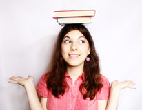 Portrait of a  girl with books . Stock Photography