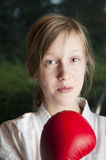 Portrait of girl with boxing gloves Royalty Free Stock Photo