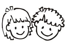Portrait of girl and boy, doodle. Smile face of children. Contour drawing. Stock Photography