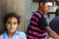 Portrait of a girl and a boy in the street in giza, egypt Stock Image