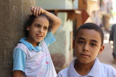 Egyptian Children. Posing on the street Royalty Free Stock Photography