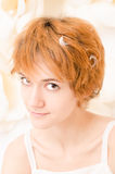 Portrait girl in bright colors. Portrait of red-haired girl in bright colors Stock Photos