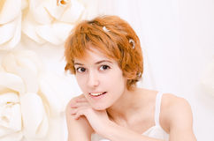 Portrait girl in bright colors. Portrait of red-haired girl in bright colors Stock Photography