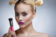 Portrait of the girl with a bright make-up professional. Royalty Free Stock Photos