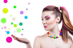 Portrait of a girl with bright makeup Stock Photography