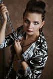 Portrait of a girl in camouflage clothing Royalty Free Stock Photo