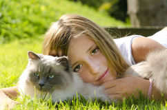 Portrait of girl and cat Royalty Free Stock Photo