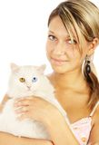 Portrait of the girl with a cat Royalty Free Stock Image