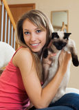 Portrait girl with cat Stock Image