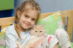Portrait of the girl with a cat Stock Image
