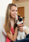 Portrait girl with cat Royalty Free Stock Photography
