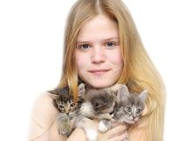 Portrait girl with cats Stock Photo