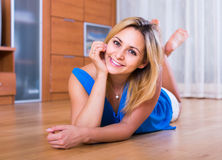 Portrait of  girl with charming smile indoors Royalty Free Stock Photo