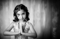 Portrait of girl child welcoming Royalty Free Stock Images