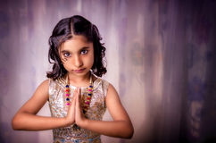 Portrait of girl child welcoming Stock Images