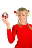 Portrait of girl with christmas toy Stock Photos