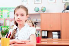 Portrait of the girl in the class Royalty Free Stock Image