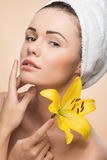 Portrait of girl with clean and fresh skin Stock Photo