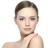 Portrait of girl with clean skin. Portrait of beautiful young girl with clean skin on pretty face - white background Royalty Free Stock Images