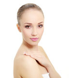 Portrait of girl with clean skin isolated on white Royalty Free Stock Images