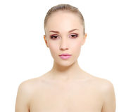 Portrait of girl with clean skin  on white Royalty Free Stock Photography