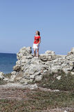 Portrait of girl on cliff Stock Images