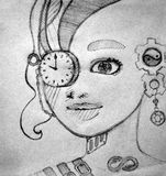 Portrait of a girl with a clock instead of a monocle surrealism royalty free stock image