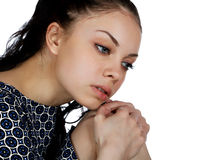 Portrait of a girl close-up on a white Stock Photography