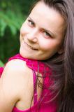 Portrait of a girl. Closeup portrait of a happy girl outdoors Royalty Free Stock Images