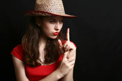 Portrait of the girl in clothes of the cowboy. Stock Photos