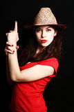 Portrait of the girl in clothes of the cowboy. Royalty Free Stock Photography
