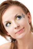 Portrait of a girl with colorful eyes Royalty Free Stock Images