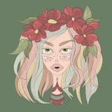 Girl with colorful hair and flower crown stock illustration