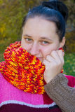 Portrait of a girl. In a colorful knit scarf royalty free stock photography