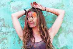 Portrait of girl with colorful paint on her face Stock Image