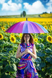 Portrait of a girl with colorful umbrella Royalty Free Stock Photography
