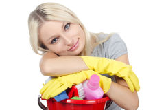 Portrait of the girl - concept Cleaning Royalty Free Stock Photos