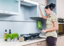 Portrait of a girl cooking Stock Photo