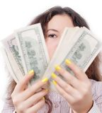 Portrait of a girl counting money isolated Stock Image