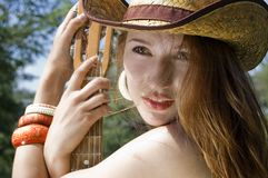 Portrait of a girl in a cowboy hat Stock Photos