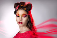 Portrait of a girl with creative make-up. Royalty Free Stock Images