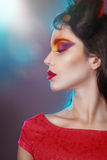 Portrait of a girl with creative make-up. Royalty Free Stock Photography