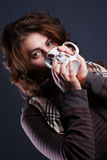 Portrait of girl with a cup stock photography