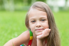 Portrait of girl with curious look Stock Images