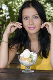 Portrait girl and dessert Royalty Free Stock Photography